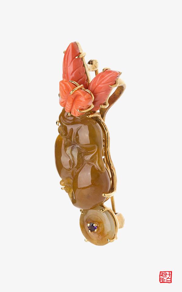 1461603 - [나스첸카 NASCHENKA] 나비처럼 춤추다 _ 비취 산호 옥 브로치