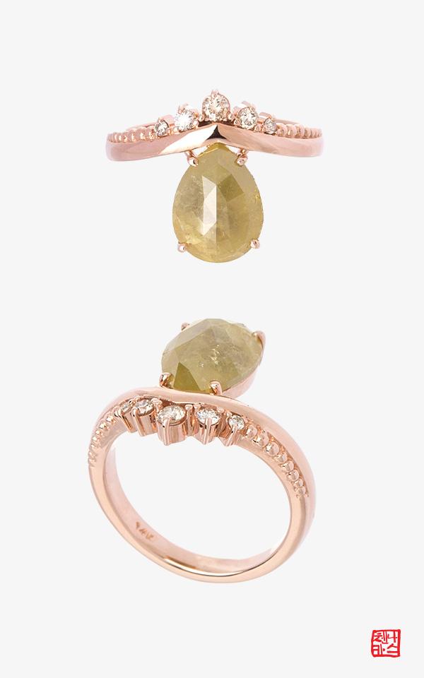 1471238 - [나스첸카 NASCHENKA] 베르니 다이아몬드 _ 14K 러프 다이아몬드 반지