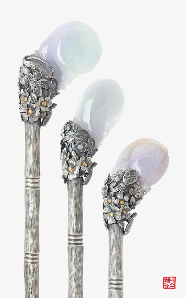 1498430 - [나스첸카 NASCHENKA] 바이올릿 향기를 품은 은 비녀 _  jade 라벤더 비취 비녀 _ 옥비녀 _ 한복비녀 _ 전통비녀