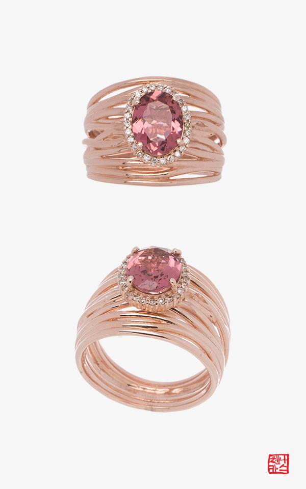 1505567 - [나스첸카 NASCHENKA] 샴페인 핑크 _ 14K 핑크 토르마린 루벨라이트 반지