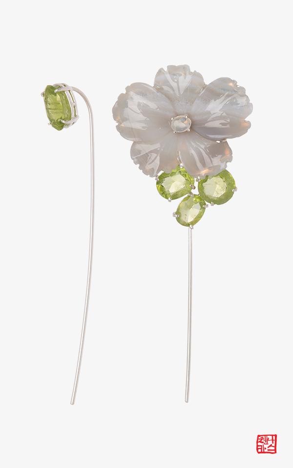1521327 - [나스첸카 NASCHENKA] 청포도 꽃 _ 아게이트 귀걸이 페리도트 귀걸이
