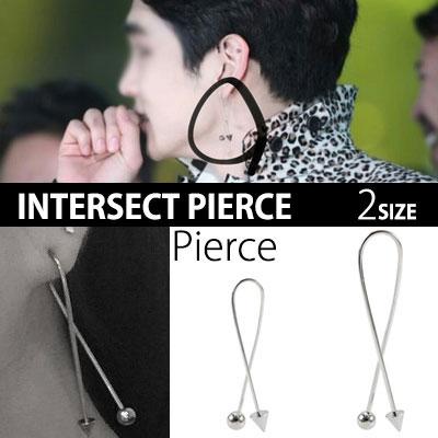 SHINEE KEY STYLE! Unique cross type of earrings! Intersect pierced one / Pierce 1ps
