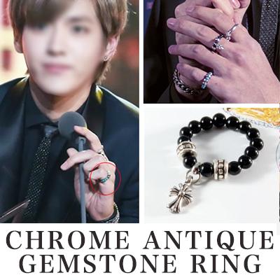 [EXO STYLE!]CHROME ANTIQUE GEMSTONE RING (Onyx ,Turquoise, White Coral)