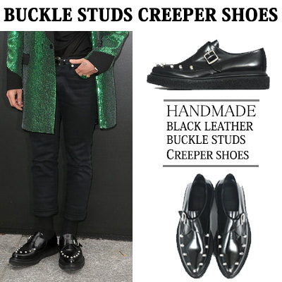 [24.0~29.5cm] WIDTH&INSOLE'POSSIBLE TO CUSTOMIZE ORDER'★BIGBANG G-DRAGON STYLE!HANDMADE BLACK LEATHER BUCKLE STUDS CREEPER SHOES