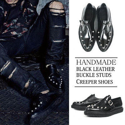 [24.0~29.5cm] WIDTH&INSOLE'POSSIBLE TO CUSTOMIZE ORDER'★BIGBANG DAESUNG STYLE!HANDMADE BLACK LEATHER BUCKLE STUDS CREEPER SHOES