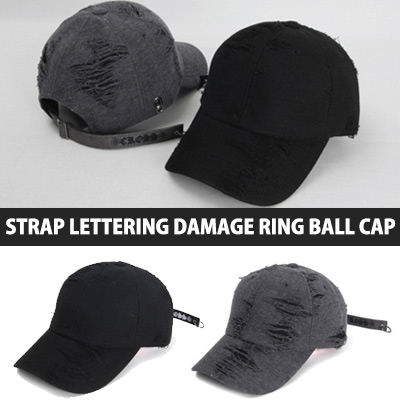 STRAP LETTERING DAMAGE RING BALL CAP