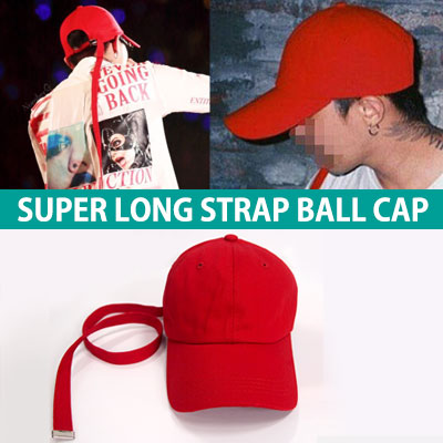 [45%OFF]★Prompt delivery★BIGBANG GD STYLE★SUPER LONG STRAP RED COTTON BALL CAP/ G-DRAGON