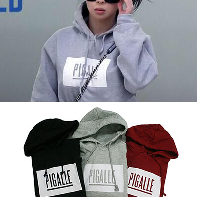 "★DAY SHIPPING★ Overseas Sereburiana favorite street brand ★ 2NE1 of Pakubomu ""roommate"" PIGALLE LOGO PRINTING HOODIES (unisex-brushed back · 3COLOR)"