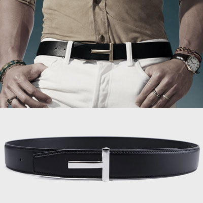 [UNISEX] GOLD/SILVER T BUCKLE COW LEATHER BELT(2color,2size)