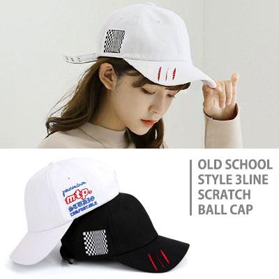[UNISEX] OLD SCHOOL STYLE 3LINE SCRATCH BALL CAP(2color)