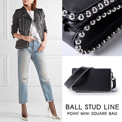 [COWLETHER]BALL STUD LINE POINT MINI SQUARE BAG