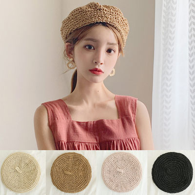 [UNISEX] STRAW BERET(4color)