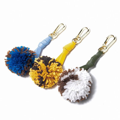 KNITTING WOOL BALL TIE STRAP CHARM KEYRING (3color)