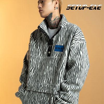 【SETUP-EXE】Zebra fleece Anorak - white