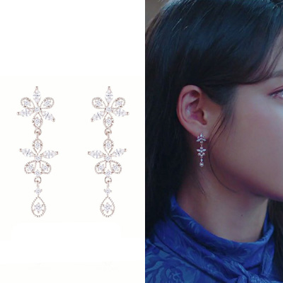 [K-drama Hotel DELUNA/IU st.] SNOW FLOWER CUBIC PIERCE (2color)
