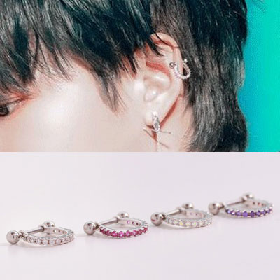 [UNISEX] AB6IX st. CUBIC ROUND SIMPLE DAILY PIERCING (4color)