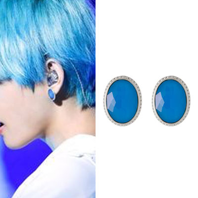 [UNISEX] BTS/V st.ROUND SHAPE BLUE BIG PIERCE (2color)