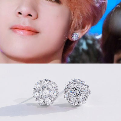[UNISEX] BTS/V st. CRYSTAL ROUND SHAPE PIERCE (2color 2type)