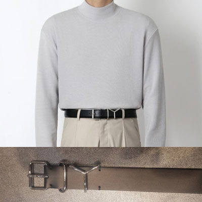 [UNISEX] Y BUCKLE POINT LEATHER BELT (2size)