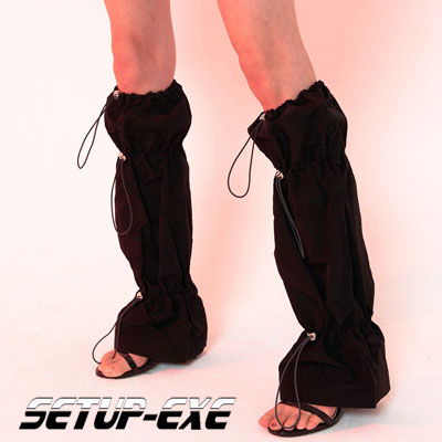 【SETUP-EXE】Shirring leg Warmer - black