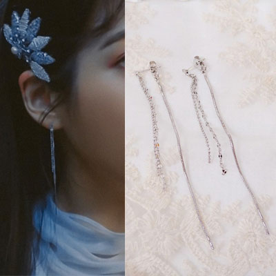 [K-drama/Hotel DELUNA/IU st.] 3LINE CHAIN LONG PIERCE (2color)