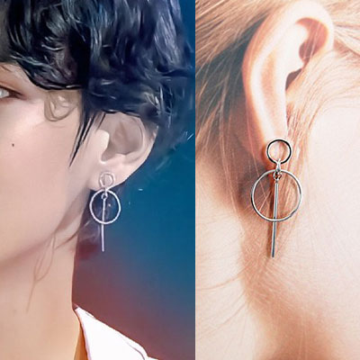 [UNISEX] BTS/V st. DOUBLE CIRCLE DROP PIERCE -1ea