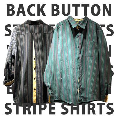 [UNISEX] BACK BUTTON STRIPE SHIRTS (2color)