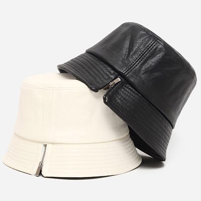 [UNISEX] SIDE ZIPPER LEATHER BUCKET HAT (2color)