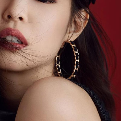 [UNISEX] BLACKPINK/JENNIE st. BLACK VELVET GOLD RING PIERCE