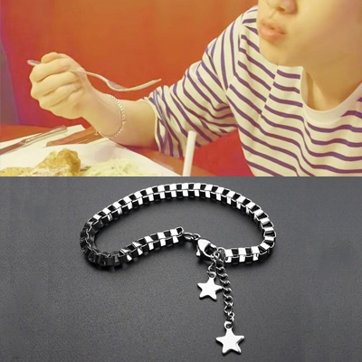 [UNISEX] BTS/Jin/防弾少年団/ジン/Dynamite st. SURGICAL STEEL STAR CHAIN BOX BRACELET