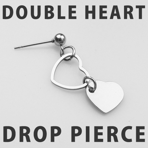 [UNISEX] DOUBLE HEART DROP PIERCE