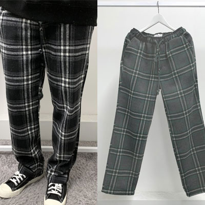 [UNISEX] WOOL CHECK BANDING PANTS (2color)