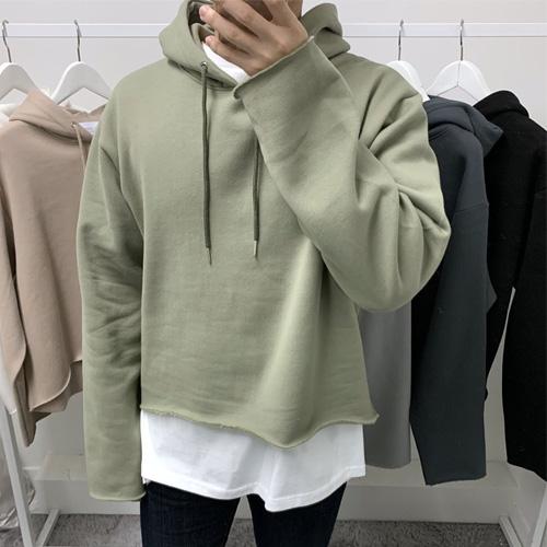 [裏起毛][UNISEX] CROP FLEECE LINED HOODIE (6color)