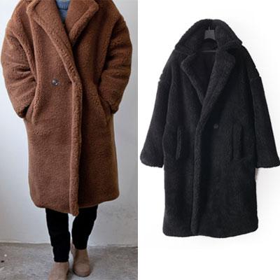 [UNISEX ] MAXY BEAR BUTTON OVERSIZE FIT COAT(2size/2color)