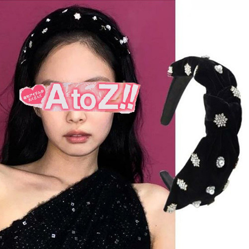 [UNISEX] BLACKPINK/JENNIE st.  BLACK VELVET CUBIC PEARL HAIR BAND
