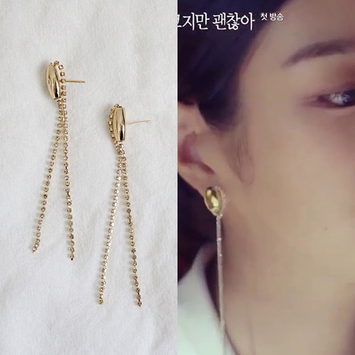 K-drama[It's Okay to Not Be Okay]/Seo Yeji st. GOLD PENDANT DROP PIERCE