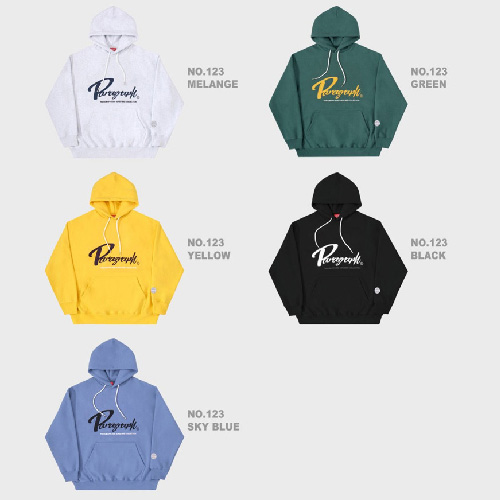 [Paragraph] CURSIVE LETTERING EMBROIDERY HOODIE (5color)