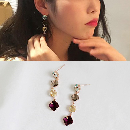 [K-drama/Hotel DELUNA/IU st.] CRYSTAL MOOD DROP PIERCE