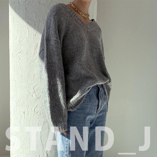 [STAND_J] OVERSIZE V NECK SWEATER (4color)