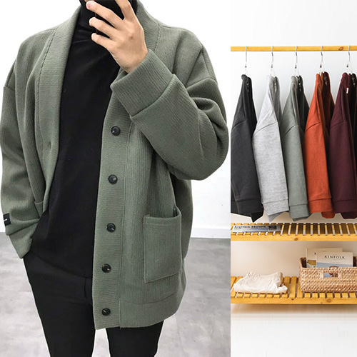 [UNISEX] WOOL BLENDED OVER CARDIGAN (5color)
