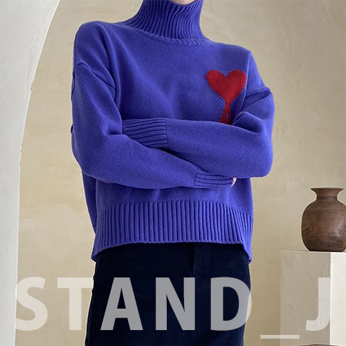 [STAND_J] BIG HEART TURTLE NECK (4color)