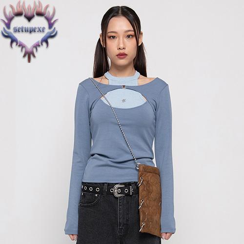 【SETUP-EXE】Layering halter neck T - blue