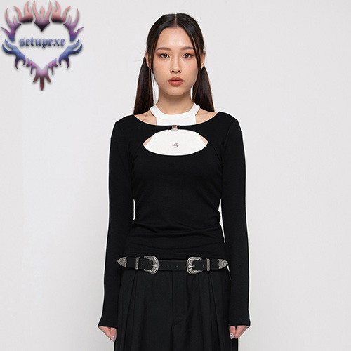 【SETUP-EXE】Layering halter neck T - black