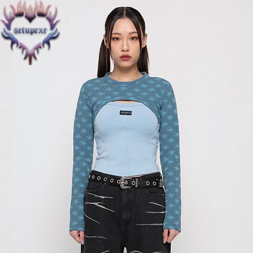 【SETUP-EXE】Rose bolero T set - blue