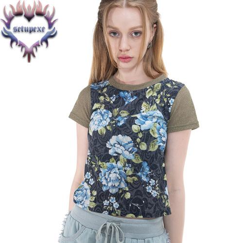 【SETUP-EXE】 Knit sleeve art T [blue flower]