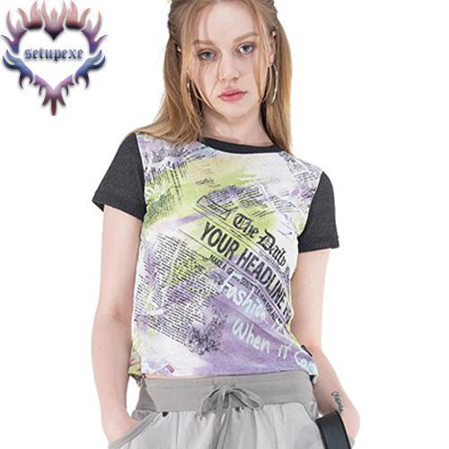 【SETUP-EXE】 Knit sleeve art T [purple lettering]