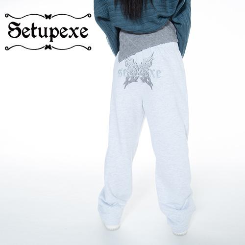 【SETUP-EXE】 Butterfly logo Sweatpants [White Melange]