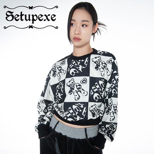 【SETUP-EXE】 Check bear Sweatshirts [Blue]