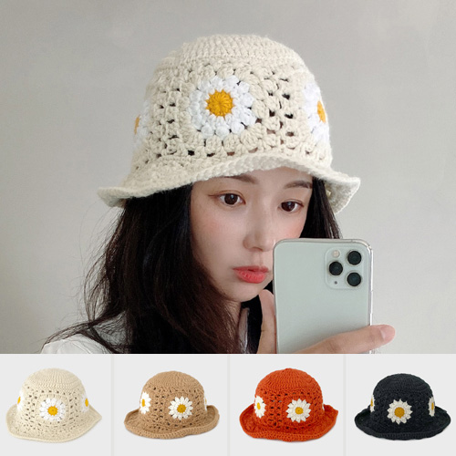 [UNISEX] PUNCHING KNIT FLOWER BUCKET HAT (4color)