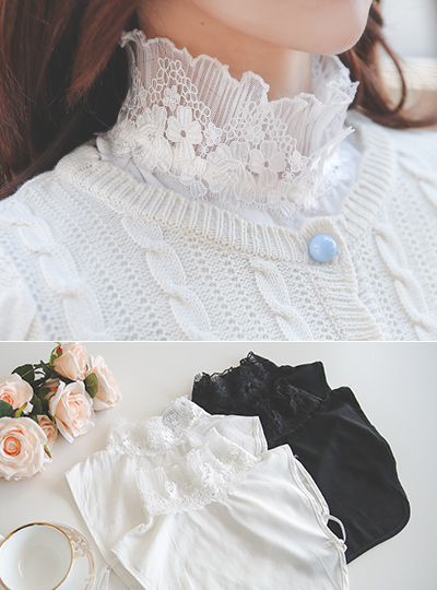 Embroidery Lace High-Neck Collar